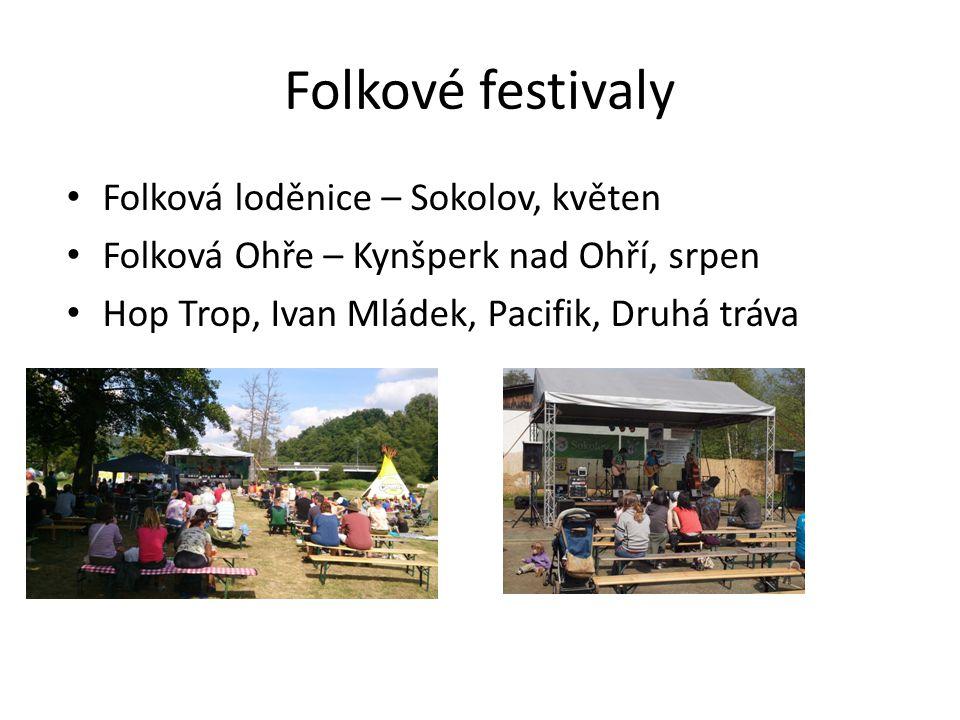 Folkové festivaly • Folková loděnice – Sokolov, květen • Folková Ohře – Kynšperk nad Ohří, srpen • Hop Trop, Ivan Mládek, Pacifik, Druhá tráva