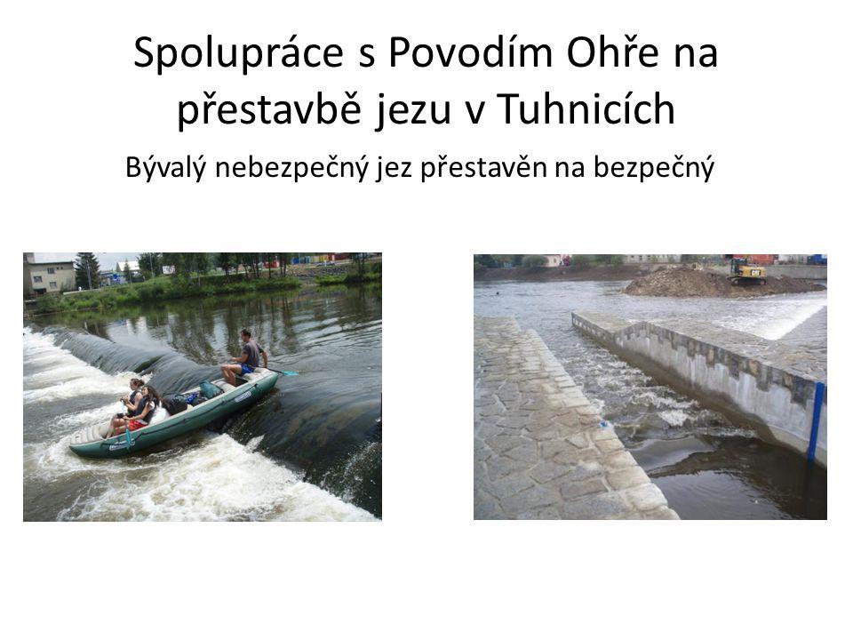 Spolupráce s Povodím Ohře na přestavbě jezu v Tuhnicích Bývalý nebezpečný jez přestavěn na bezpečný