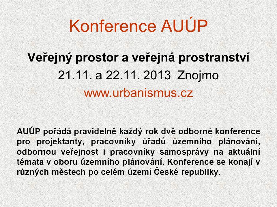 Konference AUÚP Veřejný prostor a veřejná prostranství 21.11. a 22.11. 2013 Znojmo www.urbanismus.cz AUÚP pořádá pravidelně každý rok dvě odborné konf