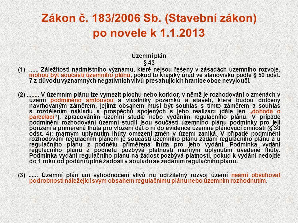 Zákon č. 183/2006 Sb. (Stavební zákon) po novele k 1.1.2013 Územní plán § 43 (1)...... Záležitosti nadmístního významu, které nejsou řešeny v zásadách