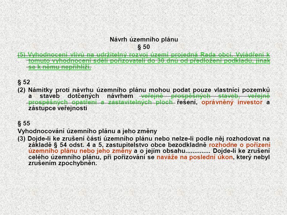 Návrh územního plánu § 50 (5) Vyhodnocení vlivů na udržitelný rozvoj území projedná Rada obcí. Vyjádření k tomuto vyhodnocení sdělí pořizovateli do 30