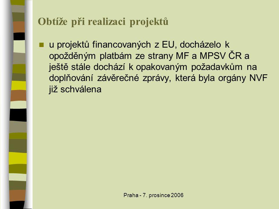 Praha - 7. prosince 2006 Obtíže při realizaci projektů  u projektů financovaných z EU, docházelo k opožděným platbám ze strany MF a MPSV ČR a ještě s