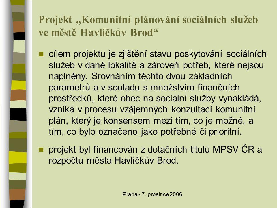 """Praha - 7. prosince 2006 Projekt """"Komunitní plánování sociálních služeb ve městě Havlíčkův Brod""""  cílem projektu je zjištění stavu poskytování sociál"""