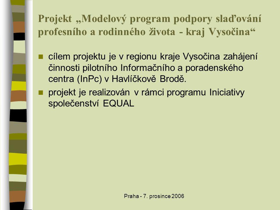"""Praha - 7. prosince 2006 Projekt """"Modelový program podpory slaďování profesního a rodinného života - kraj Vysočina""""  cílem projektu je v regionu kraj"""