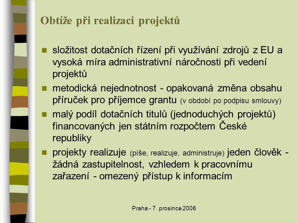 Praha - 7. prosince 2006 Obtíže při realizaci projektů  složitost dotačních řízení při využívání zdrojů z EU a vysoká míra administrativní náročnosti