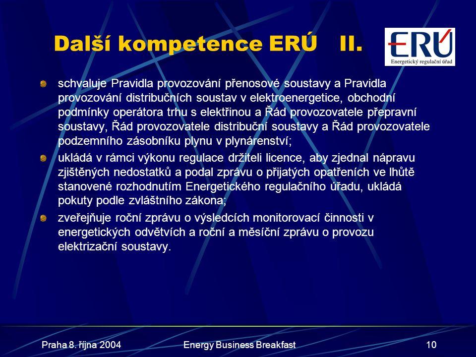Praha 8. října 2004Energy Business Breakfast10 Další kompetence ERÚII. schvaluje Pravidla provozování přenosové soustavy a Pravidla provozování distri