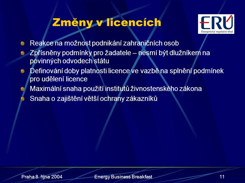 Praha 8. října 2004Energy Business Breakfast11 Změny v licencích Reakce na možnost podnikání zahraničních osob Zpřísněny podmínky pro žadatele – nesmí
