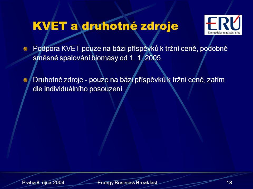 Praha 8. října 2004Energy Business Breakfast18 KVET a druhotné zdroje Podpora KVET pouze na bázi příspěvků k tržní ceně, podobně směsné spalování biom