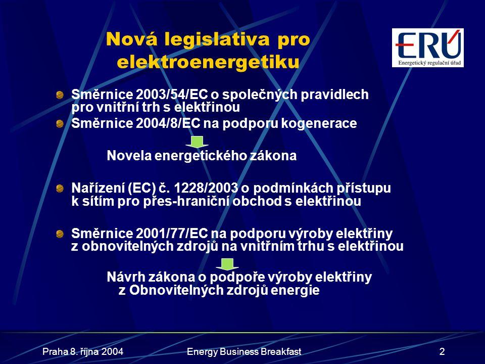 Praha 8. října 2004Energy Business Breakfast2 Nová legislativa pro elektroenergetiku Směrnice 2003/54/EC o společných pravidlech pro vnitřní trh s ele