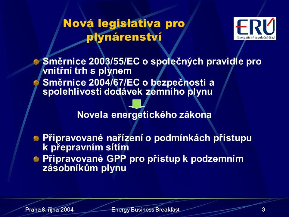 Praha 8. října 2004Energy Business Breakfast3 Nová legislativa pro plynárenství Směrnice 2003/55/EC o společných pravidle pro vnitřní trh s plynem Smě