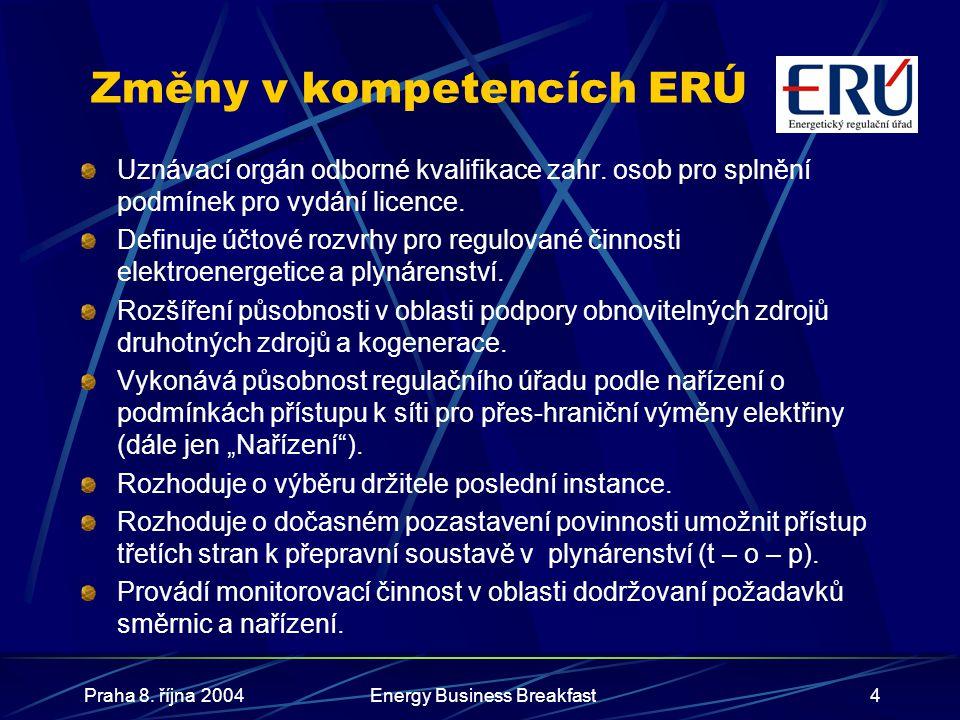Praha 8. října 2004Energy Business Breakfast4 Změny v kompetencích ERÚ Uznávací orgán odborné kvalifikace zahr. osob pro splnění podmínek pro vydání l