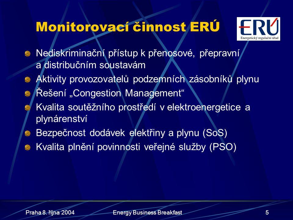 Praha 8. října 2004Energy Business Breakfast5 Monitorovací činnost ERÚ Nediskriminační přístup k přenosové, přepravní a distribučním soustavám Aktivit
