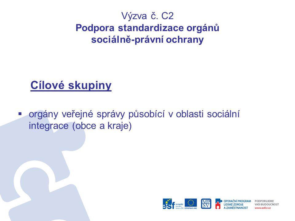 Výzva č. C2 Podpora standardizace orgánů sociálně-právní ochrany Cílové skupiny  orgány veřejné správy působící v oblasti sociální integrace (obce a