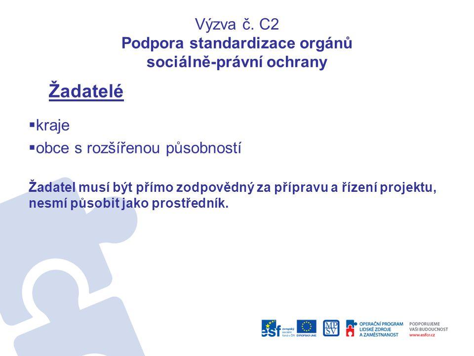Výzva č. C2 Podpora standardizace orgánů sociálně-právní ochrany Žadatelé  kraje  obce s rozšířenou působností Žadatel musí být přímo zodpovědný za