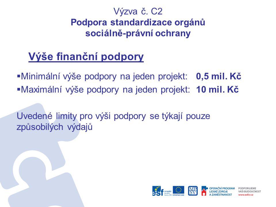 Výzva č. C2 Podpora standardizace orgánů sociálně-právní ochrany Výše finanční podpory  Minimální výše podpory na jeden projekt: 0,5 mil. Kč  Maximá