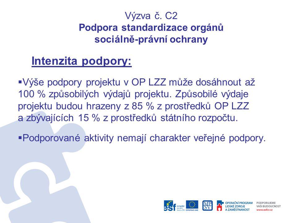 Výzva č. C2 Podpora standardizace orgánů sociálně-právní ochrany Intenzita podpory:  Výše podpory projektu v OP LZZ může dosáhnout až 100 % způsobilý