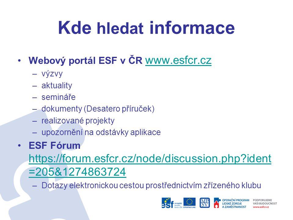 Kde hledat informace •Webový portál ESF v ČR www.esfcr.cz www.esfcr.cz –výzvy –aktuality –semináře –dokumenty (Desatero příruček) –realizované projekt