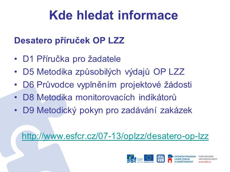 Kde hledat informace Desatero příruček OP LZZ •D1 Příručka pro žadatele •D5 Metodika způsobilých výdajů OP LZZ •D6 Průvodce vyplněním projektové žádos