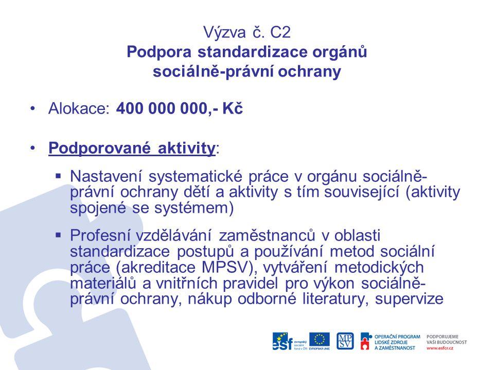 Výzva č. C2 Podpora standardizace orgánů sociálně-právní ochrany •Alokace: 400 000 000,- Kč •Podporované aktivity:  Nastavení systematické práce v or