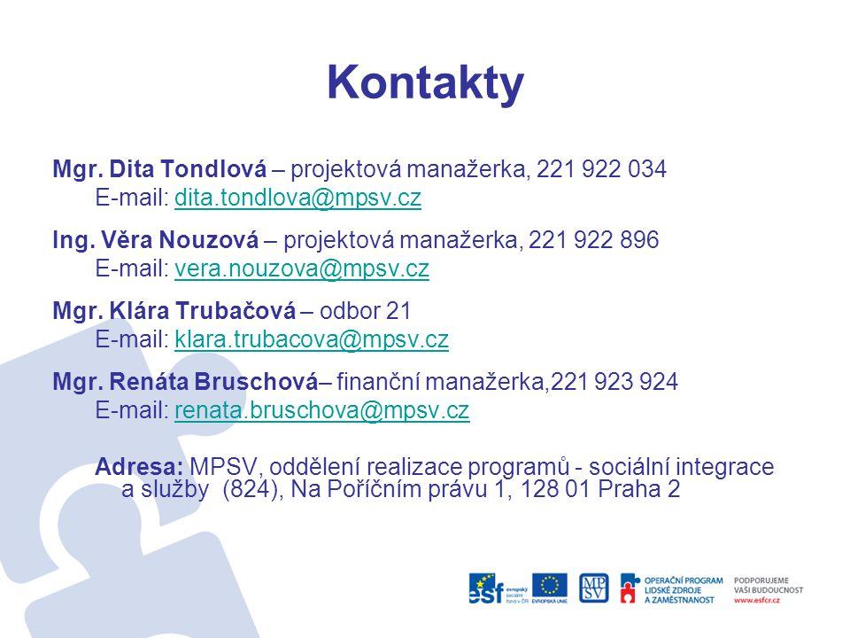 Kontakty Mgr. Dita Tondlová – projektová manažerka, 221 922 034 E-mail: dita.tondlova@mpsv.czdita.tondlova@mpsv.cz Ing. Věra Nouzová – projektová mana