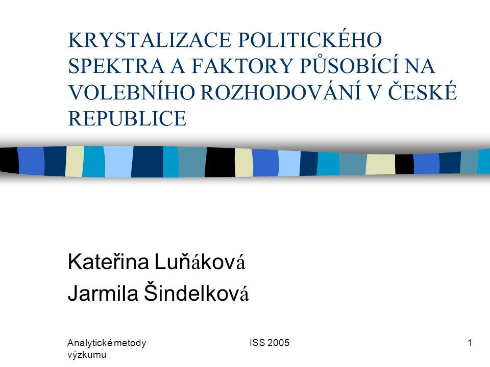 Analytické metody výzkumu ISS 20051 KRYSTALIZACE POLITICKÉHO SPEKTRA A FAKTORY PŮSOBÍCÍ NA VOLEBNÍHO ROZHODOVÁNÍ V ČESKÉ REPUBLICE Kateřina Luň á kov á Jarmila Šindelkov á