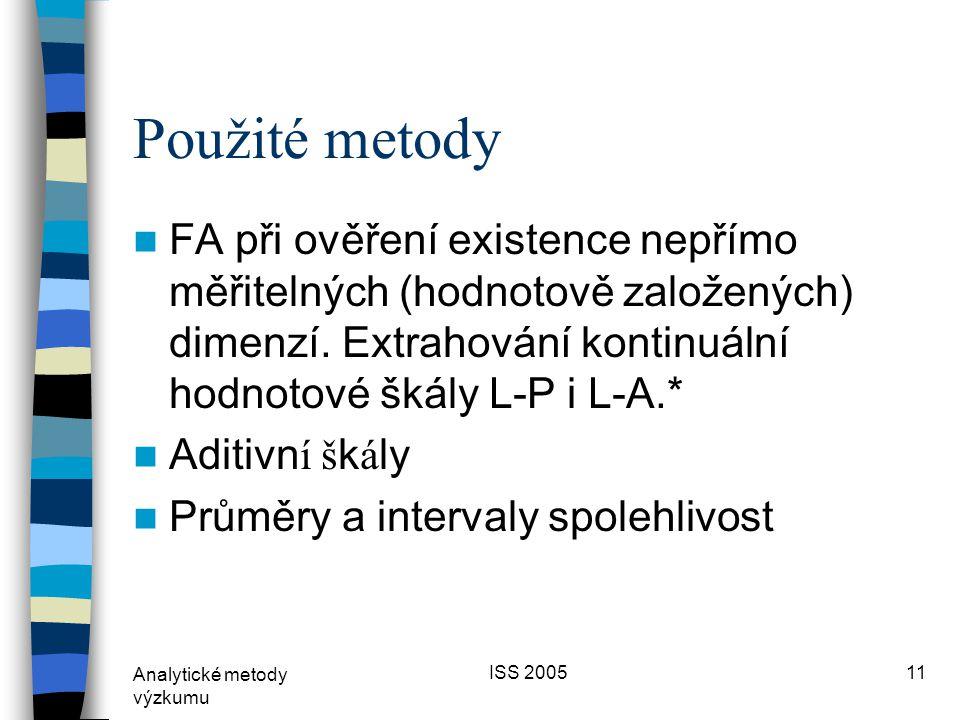 Analytické metody výzkumu ISS 200510 Definice politického prostoru  Jedna osa (L-P) nebo dvě (L-P a L-A)?  ČR: tradičně definovan á L-P osa (určuj í