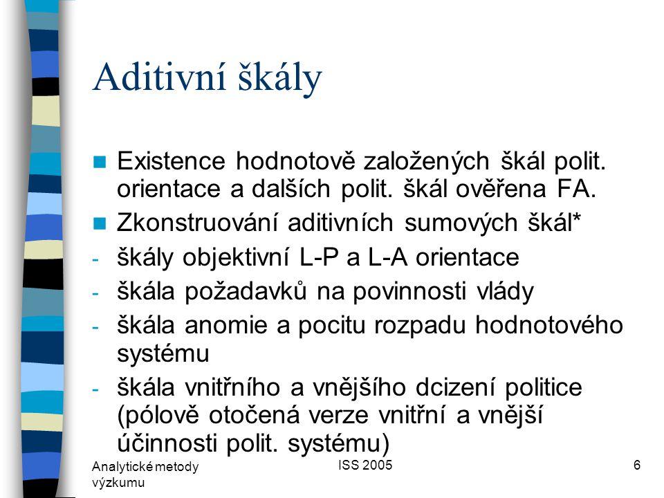 Analytické metody výzkumu ISS 20056 Aditivní škály  Existence hodnotově založených škál polit.