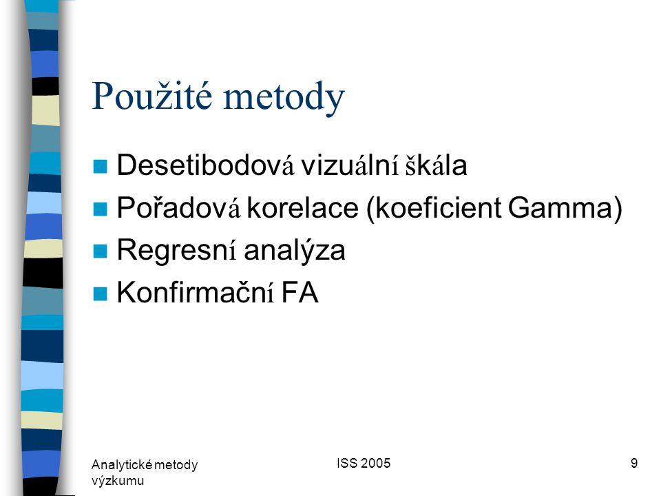 Analytické metody výzkumu ISS 20059 Použité metody  Desetibodov á vizu á ln í š k á la  Pořadov á korelace (koeficient Gamma)  Regresn í analýza  Konfirmačn í FA