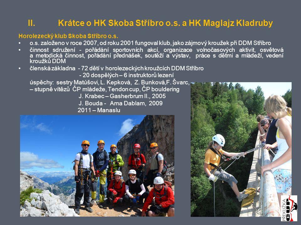 II.Krátce o HK Skoba Stříbro o.s. a HK Maglajz Kladruby Horolezecký klub Skoba Stříbro o.s.