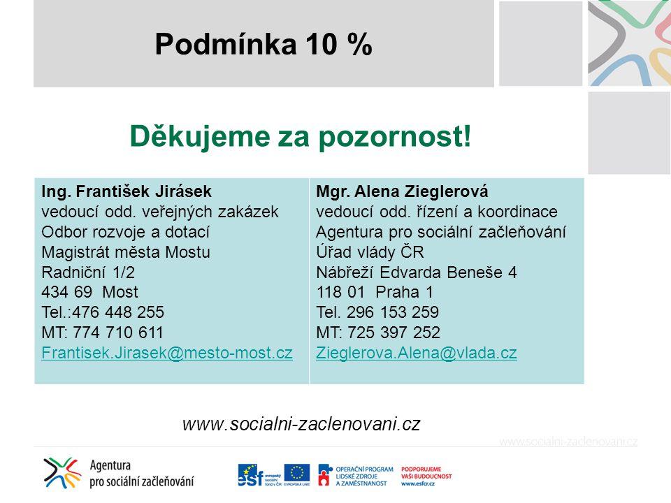 Děkujeme za pozornost! www.socialni-zaclenovani.cz Podmínka 10 % Ing. František Jirásek vedoucí odd. veřejných zakázek Odbor rozvoje a dotací Magistrá