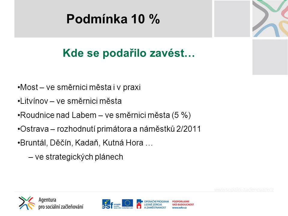 Název příspěvku Kde se podařilo zavést… •Most – ve směrnici města i v praxi •Litvínov – ve směrnici města •Roudnice nad Labem – ve směrnici města (5 %