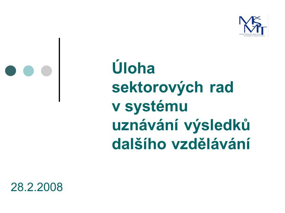 Úloha sektorových rad v systému uznávání výsledků dalšího vzdělávání 28.2.2008