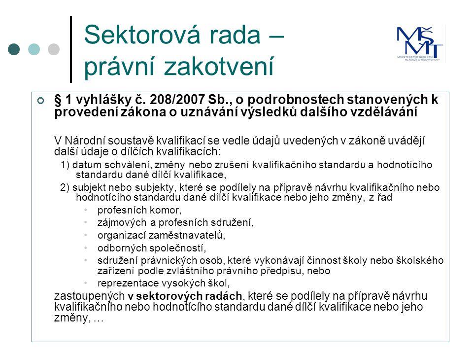 Sektorová rada – právní zakotvení § 1 vyhlášky č.