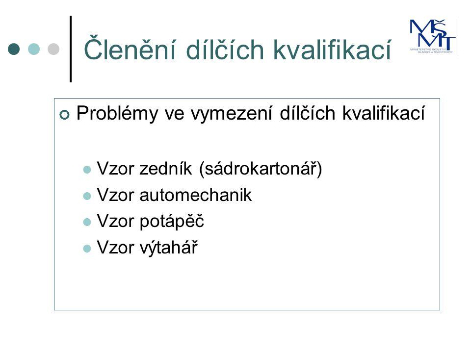 Členění dílčích kvalifikací Problémy ve vymezení dílčích kvalifikací  Vzor zedník (sádrokartonář)  Vzor automechanik  Vzor potápěč  Vzor výtahář