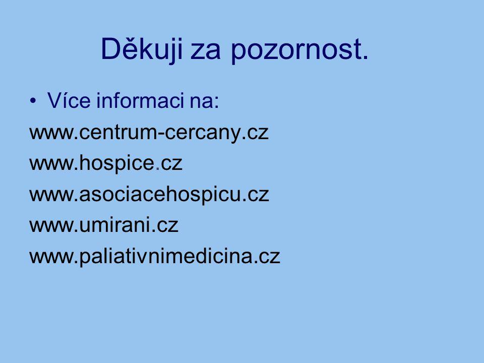 Děkuji za pozornost. •Více informaci na: www.centrum-cercany.cz www.hospice.cz www.asociacehospicu.cz www.umirani.cz www.paliativnimedicina.cz
