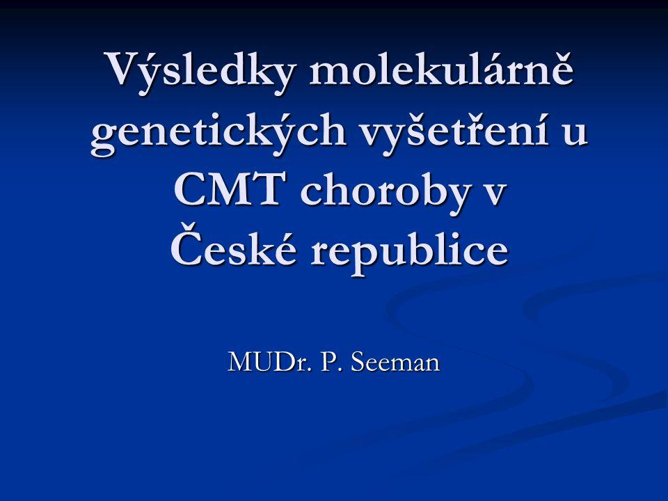 V současnosti vyšetřované geny  CMT1A duplikace/HNPP delece ( chromosom 17p)  Cx32 – GJB1 – CMTX  MPZ – P0 gen – HMSN III, CMT2, CMT1  PMP22  LITAF  EGR2  GDAP1  HSP22  HSP27  CCFDN gen