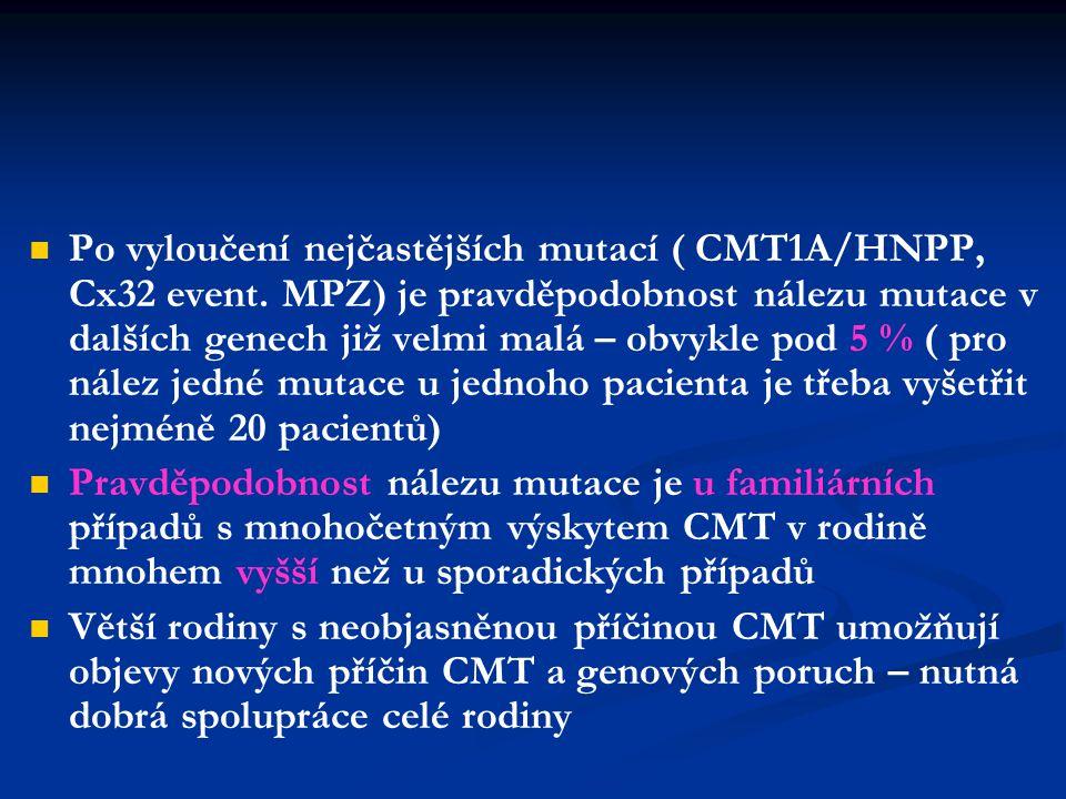 České CMT rodiny 1997 - České CMT rodiny 1997 - 2003 548 – rodin vyšetřeno mutace prokázána celkem u 238 rodin CMT1A: 258 osob, HNPP: 131 osob