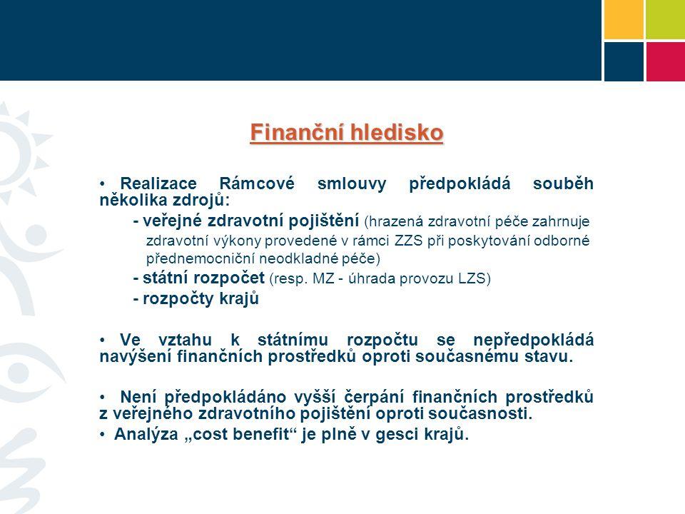 Finanční hledisko • Realizace Rámcové smlouvy předpokládá souběh několika zdrojů: - veřejné zdravotní pojištění (hrazená zdravotní péče zahrnuje zdravotní výkony provedené v rámci ZZS při poskytování odborné přednemocniční neodkladné péče) - státní rozpočet (resp.