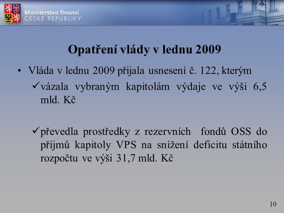 10 Opatření vlády v lednu 2009 •Vláda v lednu 2009 přijala usnesení č.