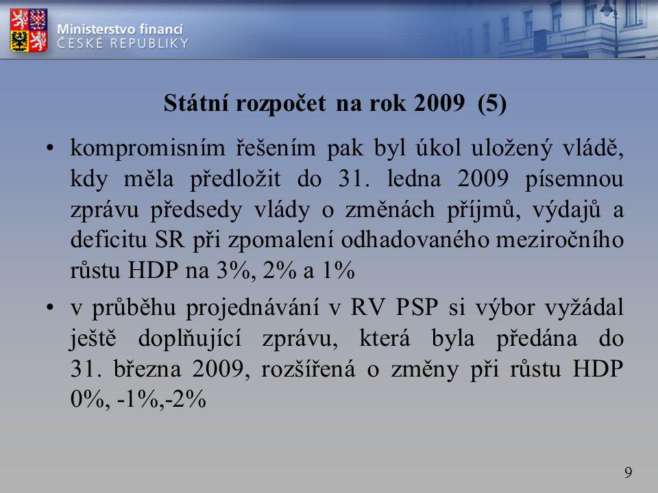 9 Státní rozpočet na rok 2009 (5) •kompromisním řešením pak byl úkol uložený vládě, kdy měla předložit do 31.