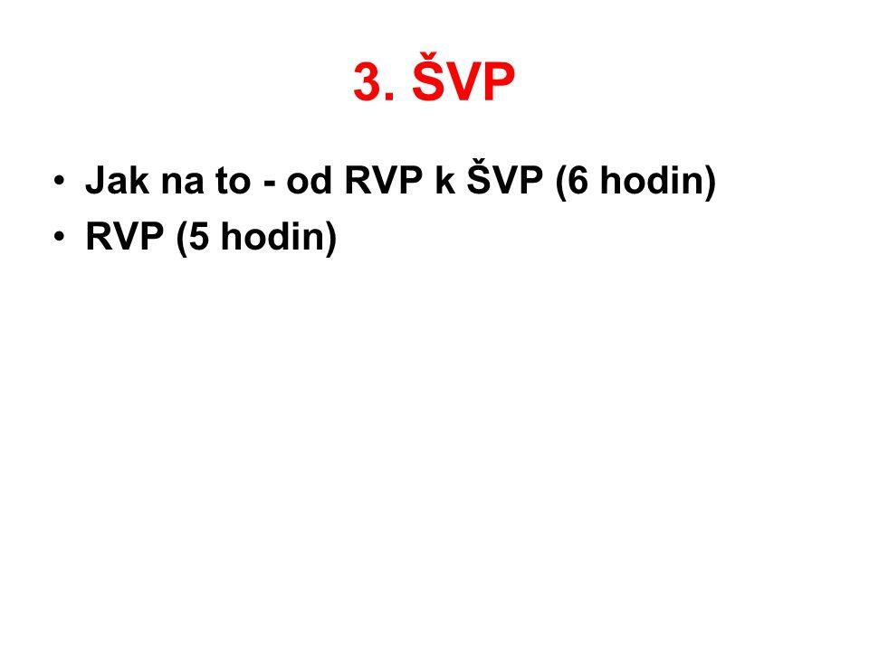 3. ŠVP •Jak na to - od RVP k ŠVP (6 hodin) •RVP (5 hodin)