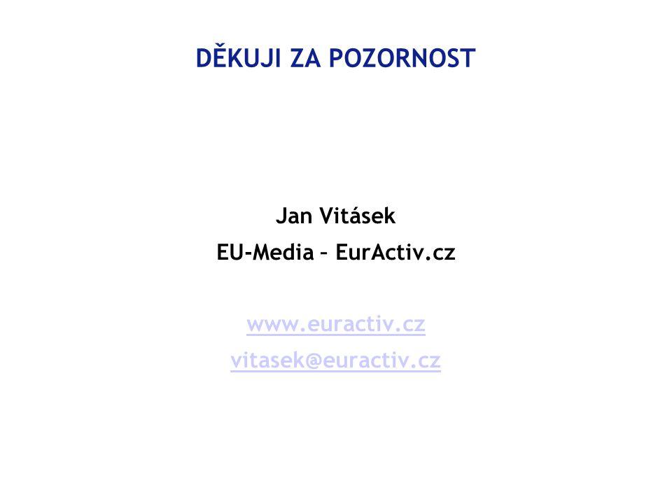 DĚKUJI ZA POZORNOST Jan Vitásek EU-Media – EurActiv.cz www.euractiv.cz vitasek@euractiv.cz
