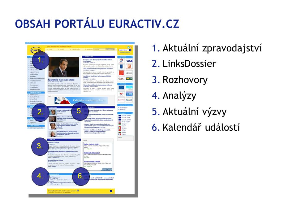 OBSAH PORTÁLU EURACTIV.CZ 1.Aktuální zpravodajství 2.LinksDossier 3.Rozhovory 4.Analýzy 5.Aktuální výzvy 6.Kalendář událostí 1.