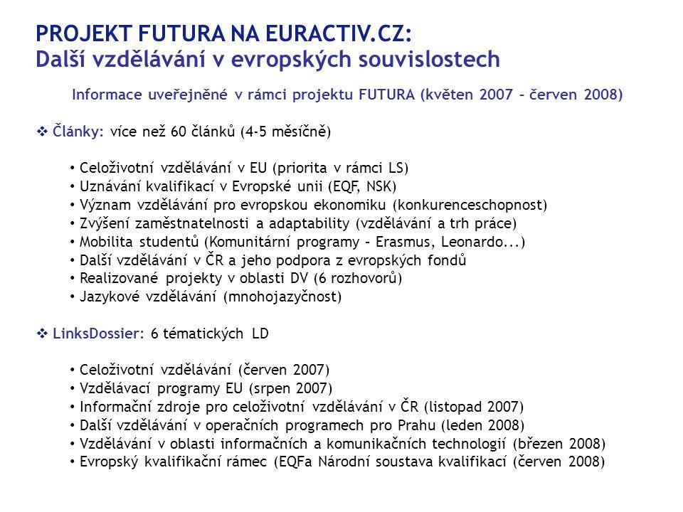 PROJEKT FUTURA NA EURACTIV.CZ: Další vzdělávání v evropských souvislostech Informace uveřejněné v rámci projektu FUTURA (květen 2007 – červen 2008)   Články: více než 60 článků (4-5 měsíčně)  • Celoživotní vzdělávání v EU (priorita v rámci LS)  • Uznávání kvalifikací v Evropské unii (EQF, NSK)  • Význam vzdělávání pro evropskou ekonomiku (konkurenceschopnost)  • Zvýšení zaměstnatelnosti a adaptability (vzdělávání a trh práce)  • Mobilita studentů (Komunitární programy – Erasmus, Leonardo...)  • Další vzdělávání v ČR a jeho podpora z evropských fondů • Realizované projekty v oblasti DV (6 rozhovorů)  • Jazykové vzdělávání (mnohojazyčnost)   LinksDossier: 6 tématických LD • Celoživotní vzdělávání (červen 2007)  • Vzdělávací programy EU (srpen 2007)  • Informační zdroje pro celoživotní vzdělávání v ČR (listopad 2007)  • Další vzdělávání v operačních programech pro Prahu (leden 2008)  • Vzdělávání v oblasti informačních a komunikačních technologií (březen 2008)  • Evropský kvalifikační rámec (EQFa Národní soustava kvalifikací (červen 2008) 