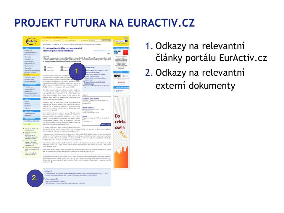PROJEKT FUTURA NA EURACTIV.CZ 1.Odkazy na relevantní články portálu EurActiv.cz 2.Odkazy na relevantní externí dokumenty ; 1.