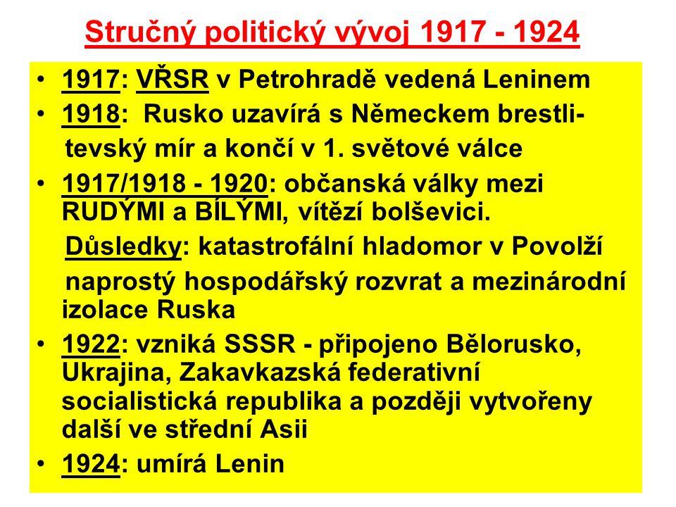 Stručný politický vývoj 1917 - 1924 •1917: VŘSR v Petrohradě vedená Leninem •1918: Rusko uzavírá s Německem brestli- tevský mír a končí v 1.