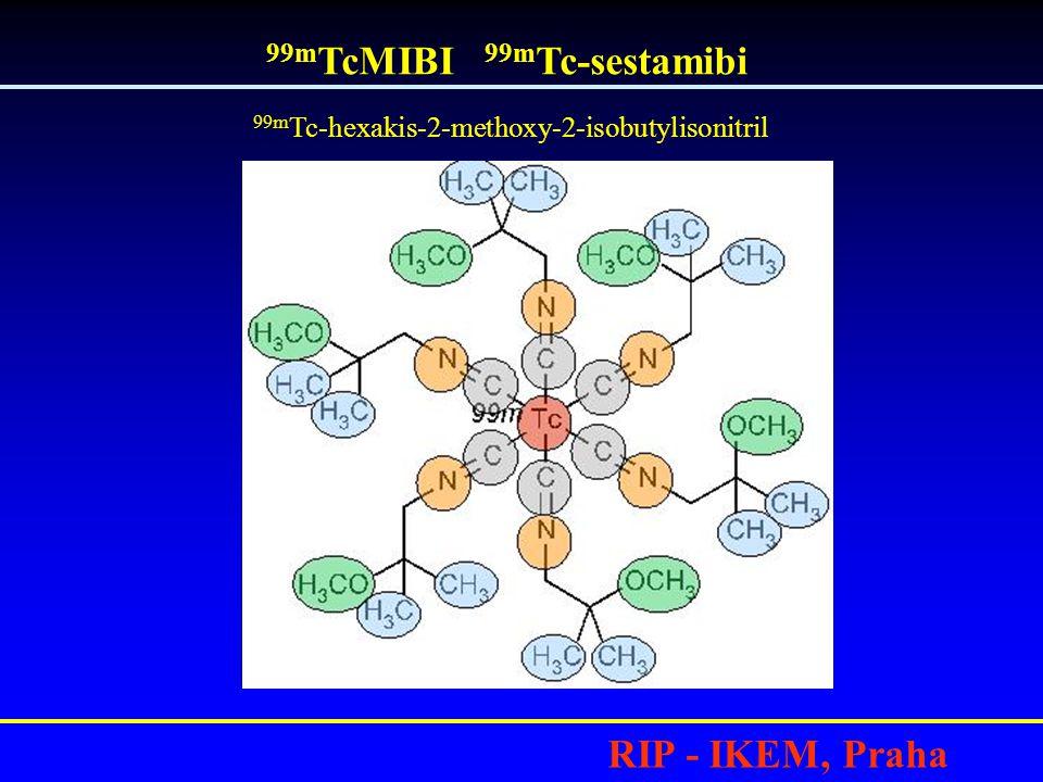 RIP - IKEM, Praha •MIBI= nosič, lipofilní kationt je akumulován převážně v mitochondriích viabilních buněk •Hlavním mechanismem akumulace je pravděpodobně elektrostatická přitažlivost mezi kladným nábojem lipofilní molekuly MIBI a negativním nábojem v mitochondriích.