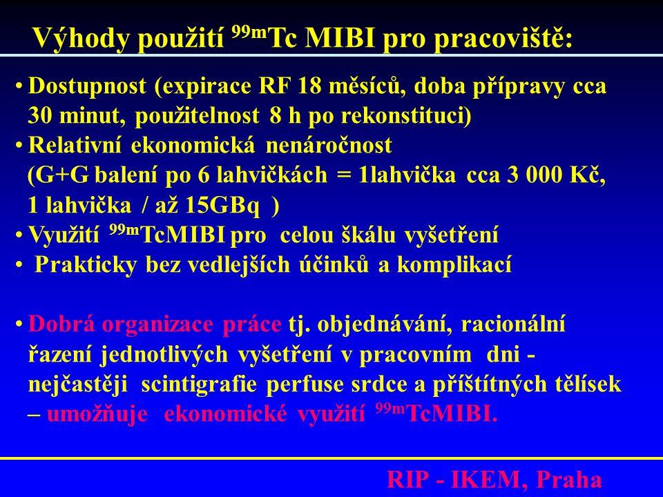RIP - IKEM, Praha Výhody použití 99m Tc MIBI pro pracoviště: •Dostupnost (expirace RF 18 měsíců, doba přípravy cca 30 minut, použitelnost 8 h po rekonstituci) •Relativní ekonomická nenáročnost (G+G balení po 6 lahvičkách = 1lahvička cca 3 000 Kč, 1 lahvička / až 15GBq ) •Využití 99m TcMIBI pro celou škálu vyšetření • Prakticky bez vedlejších účinků a komplikací •Dobrá organizace práce tj.