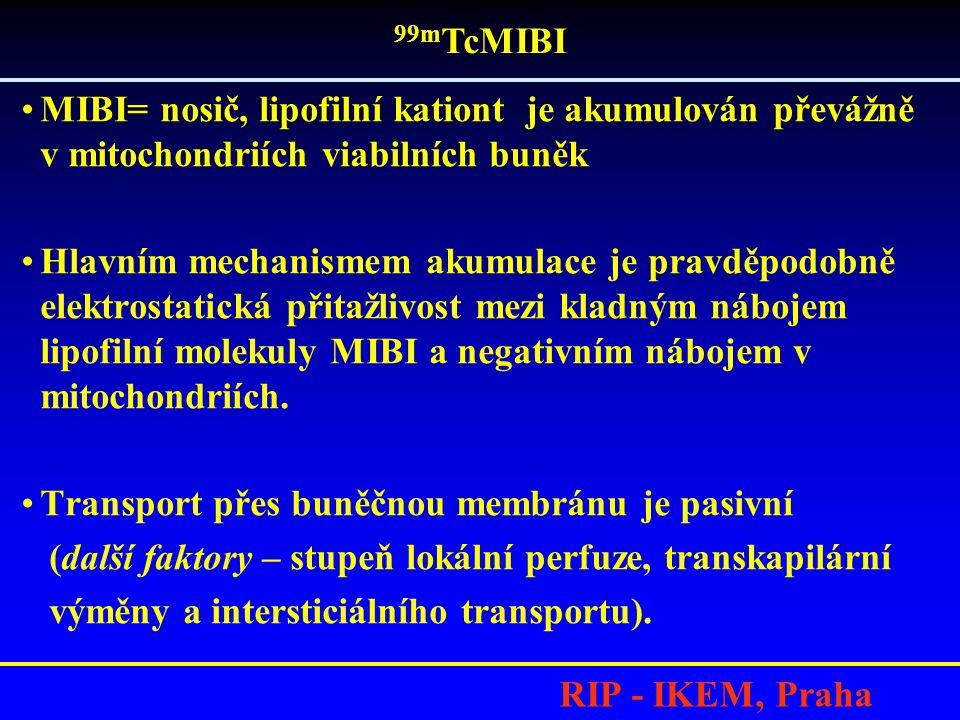 RIP - IKEM, Praha •MIBI= nosič, lipofilní kationt je akumulován převážně v mitochondriích viabilních buněk •Hlavním mechanismem akumulace je pravděpod