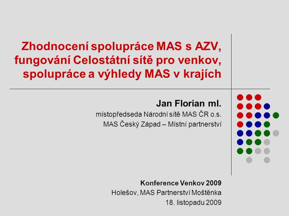Zhodnocení spolupráce MAS s AZV, fungování Celostátní sítě pro venkov, spolupráce a výhledy MAS v krajích Jan Florian ml.